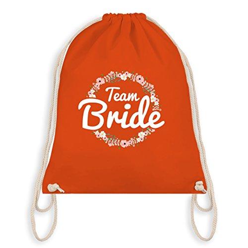 Shirtracer JGA Junggesellinnenabschied - Team Bride Blumenkranz - Unisize - Orange - WM110 - Turnbeutel I Gym Bag