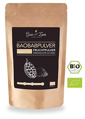 Baobab Pulver, 120g - 100% Bio direkt aus Afrika. Vitamin B1, B6, Magnesium und wertvollen Antioxidantien | 100% sortenreines Pulver mit zahlreichen Vitaminen -