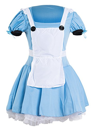 Emmas Wardrobe Alice Kostüm - Enthält Adult Blaues Kleid, weiße Schürze und Schwarz Stirnband - Frauen-Abendkleid für Halloween oder Hen Night - UK-Größe 6-14 (Women: 38, Blue Dress)