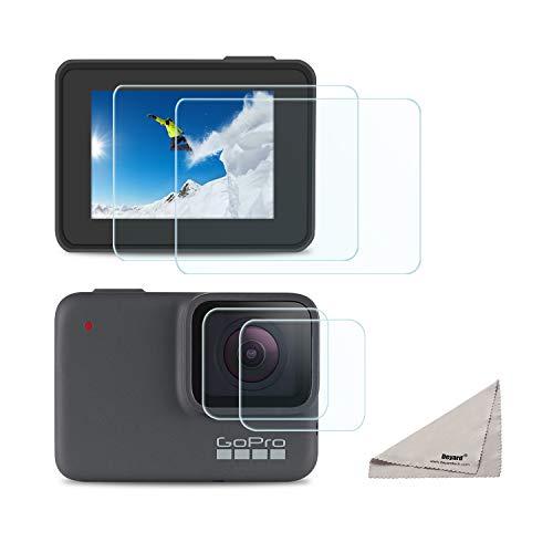 Deyard [4pcs] Protecteur d'écran GoPro Hero 7 White GoPro Hero 7 Silver, Ultra Clair en Verre trempé Protecteur d'écran + Objectif de Protection Accessoires