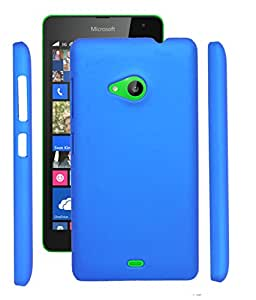 Fuson Rubberised Hard Back Case Cover For Microsoft Lumia 535 - DarkBlue