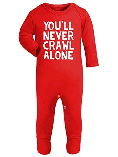 """Baby-Strampler, Strampelanzug mit Aufschrift """"You'll Never Crawl Alone"""", Fußball-Fan-Artikel, für Liverpool-Fans (Fan-fußball-baby-strampelanzug)"""
