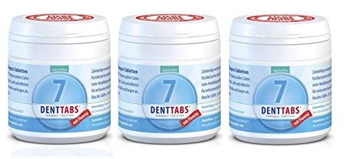 DENTTABS Zahnputztabletten Stevia-Mint mit Fluorid 3er-Pack (3x 125 Stück) (bio, vegan) MFx3