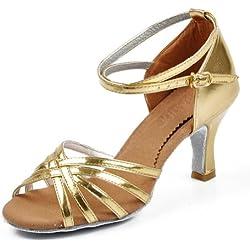 Amur Leopard Zapatos de Baile Dorado para Mujer Zapatos de Tacón Medio para Jazz Baile Latina y Salsa Talla 38