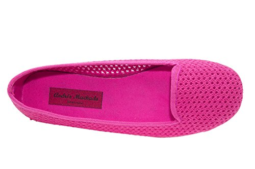 AM5048 - Andres Machado - Ballerinas mit runder Schuhspitze Stoff - Made in Spain Netz Erdbeere