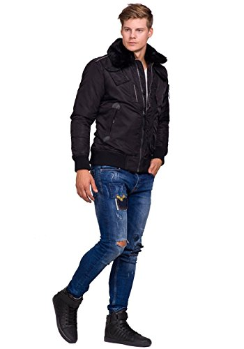 BOLF Herrenjacke Sweatjacke Winterjacke MIX Schwarz_3095