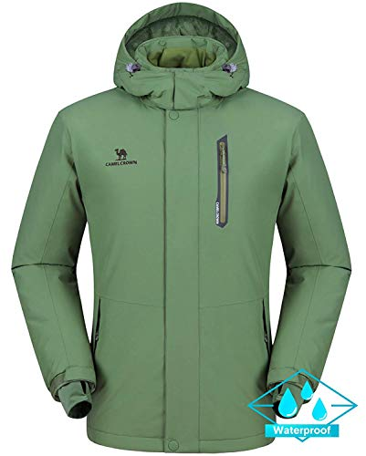 CAMEL CROWN Herren Wasserdichte Wanderjacke Regenjacken Outdoor Funktionsjacke Full Zip mit Fleece-Futter, Winddichte Warmer Mantel Jacke mit Kapuze Winterwandern Freizeitjacke