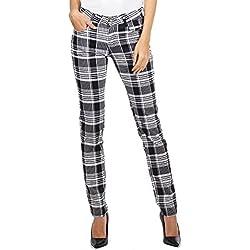 Pantalones Cuadros Estilo Slim para Mujer Pantalón de Tartán Pitillo - Negro y Blanco - 42