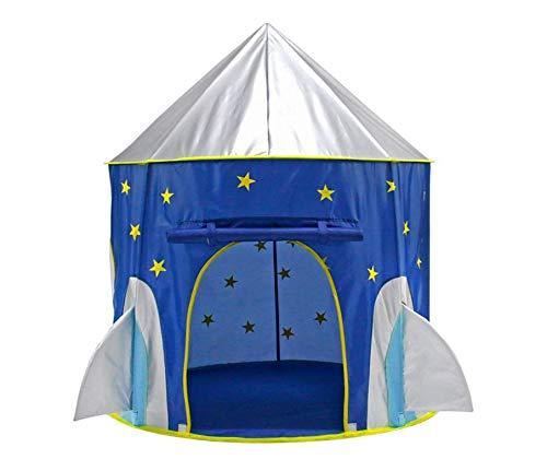 Kinder Faltbare Spielhaus tragbare Zelt Castle Indoor Outdoor Spielzeug Garten (Rakete),Blue
