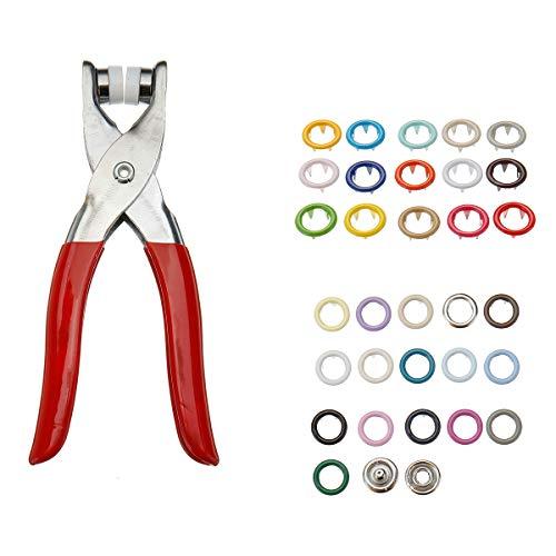 TuToy 310Pcs 31 Colors 9.5Mm Pliers Tool Metal Buttons Prong Snap Fastener Press Studs + Plier Kit - Plier + Snap Buttons Metal Stud Fastener Kit