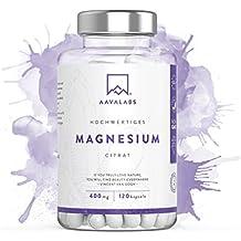 Magnesiumcitrat Kapseln [ 400 mg ] von Aava Labs - Reiner Nährstoff, nicht gestreckt - Für Muskel und Nerven Funktion - 100% Vegan und ohne Gentechnik - Hergestellt in der EU - 120 Rein pflanzliche Kapseln.