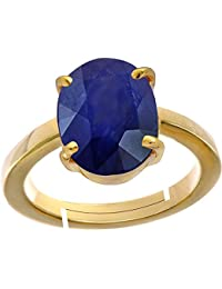 Blue Sapphire/ Neelam 10.2cts Or 11.25ratti Stone Panchdhatu Adjustable Ring For Women By AKSHAY GEMS