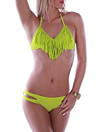 RAE Damen Bikini-Set Neckholder Fransen Tassel Design mit stylischem Höschen