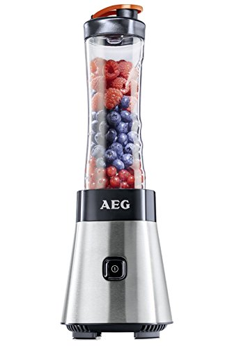 AEG PerfectMix SB4PS Mini Mixer mit 0,4 PS-Power-Motor (bis zu 23.000 U/min, 4 Edelstahlmesser, 1 x bruchfeste 0,6 l und 1 x 0,3 l BPA-freie Tritan-Trinkflaschen, Standmixer mit gebürstetem Edelstahlgehäuse)