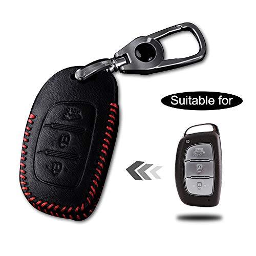 Cobear Custodia con portachiavi in pelle per chiave con telecomando per HYUNDAI 3 pulsanti Smart Key di lusso a mano genuina cucire linea rossa 1PC tipo