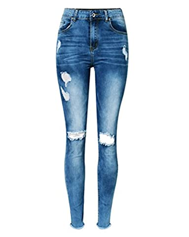 SaiDeng Femmes Taille Haute Ripped Knee Cut Skinny Jeans Pantalons Slim Crayons Pantalon Bleu Foncé 34