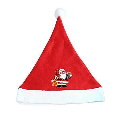 Amphia Weihnachtsmütze - Weihnachtsmütze für Erwachsene - Weihnachten Santa Red Hat Cosy Soft Warm Santa Kopfbedeckung