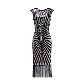 Metme Women's 1920s Classic Long Beaded Cocktail Party Dress Fringe Embellished Cocktail Gatsby Party Champagne L