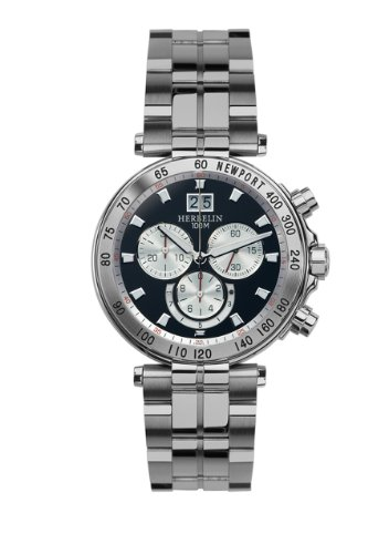 Michel Herbelin Newport Men's Quartz Watch with Black Dial Chronograph Display and Silver Stainless Steel Bracelet 36695/B34