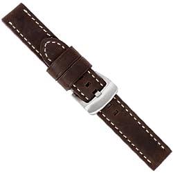 "Uhrbanddealer 22mm Ersatzband Uhrenarmband Fliegerband ""Sky"" Sattel Leder Band Fliegerband Optik dunkel Braun"