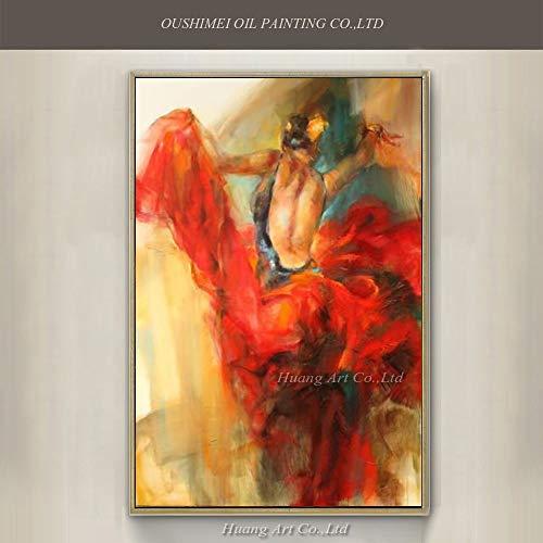 SUMIANYH 100% Handgemalte Ölgemälde Von Hand Bemalt Moderne Abstrakte Spanische Tänzerin Mit Blume Im Roten Kleid Öl Malerei Handgemachte Frau Tänzer Wand 80 X 120 cm