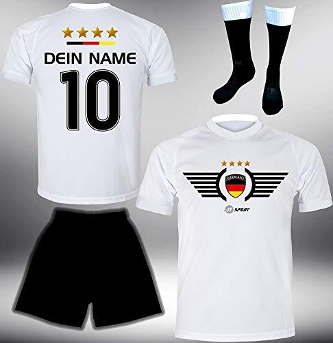 ElevenSports Deutschland Trikot Set 2018 mit Hose & Stutzen GRATIS Wunschname + Nummer im EM WM Weiss Typ #DE2ths - Geschenke für Kinder Erw. Jungen Baby Fußball T-Shirt Bedrucken