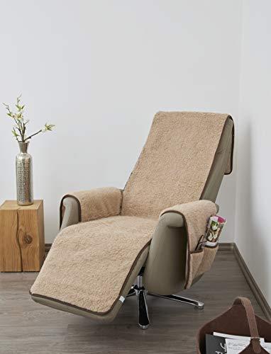 K. & N. - Copripoltrona in lana vergine con protezione per braccioli e poggiapiedi lungo, strato di base: 100% poliestere, marrone chiaro, parte centrale 200 x 50 cm, Circa 60 x 40 cm