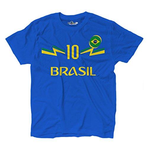KiarenzaFD Camiseta Camiseta Fútbol 2Junior Selección Neymar Brasil 10Shirts, KTS01894-S-Royal, Royal, Small