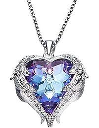 f5e8fec1d536d ZSML Bijoux Ensemble pour Les Femmes Swarovski élément de Cristal Pendentif  Coeur Collier océan Stud Earrings18K