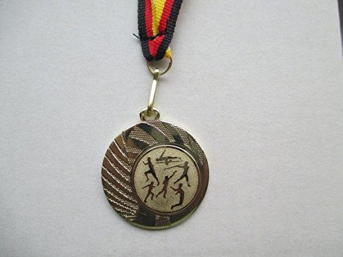 10 x Medaillen aus Stahl 40mm mit einem Emblem Leichtathletik - Laufen - Lauf - inkl. Medaillen Band Farbe: Gold - Emblem 25mm (e262)