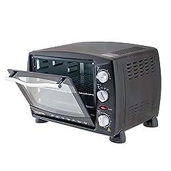 H.Koenig FO18 Mini-Ofen / 18 L Innenraum / inklusive Backblech, Grillrost und Greifer / bis 230°C / 1300 W / Timer / schwarz
