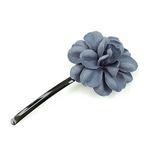 rougecaramel - Accessoires cheveux - Mini pince fleur en cuir véritable - gris
