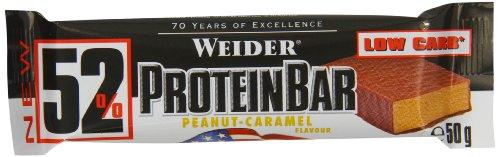 Weider 52% Protein Bar (24 x 50g Box), Peanut-Caramel/Erdnuss-Karamell, 1er Pack, (1 x 1.2kg) (Bar-erdnuss-karamell)