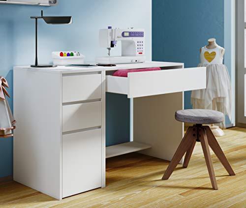 VCM Nähmaschinentisch Nähschrank Nähtischchen Sekretär Schreibtisch Nitola Weiß Tisch (Schrank Nähmaschinen Im)