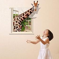 3D Lovely Giraffe Wall Sticker Decal Animal Wallpaper Living Room Home Decor Art Mural -