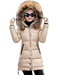 YOJAP Damen Herbst Winter Jacke Damen Warmer Wintermantel Winterjacke mit Hochwertigem  Kunst Fellkapuze Lang Parka f7802a4271