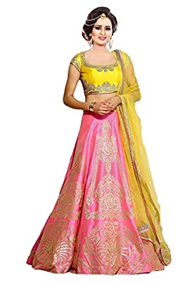 Ziyaan Women's Silk Lehenga With Blouse Piece And Dupatta