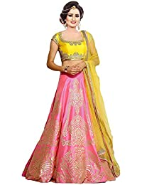 Maa Collections Women's Silk Lehenga With Blouse Piece And Dupatta