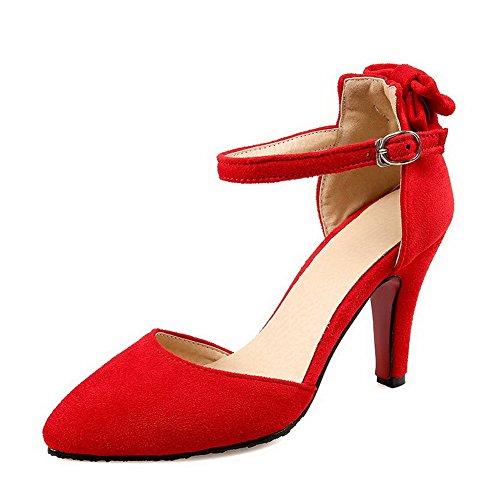AgooLar Femme Dépolissement Boucle Pointu à Talon Haut Couleur Unie Chaussures Légeres Rouge