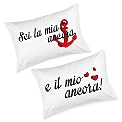 Idea Regalo - Babloo Coppia di Federe Love You And Me Ancora