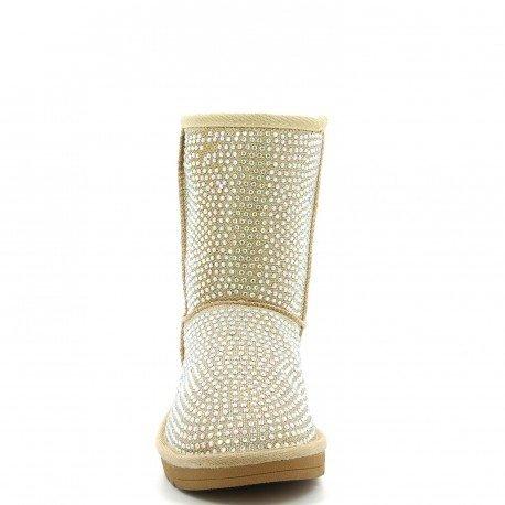 Ideal Shoes - Bottines hivernales fourrées et ornées de strass Eenie Doree