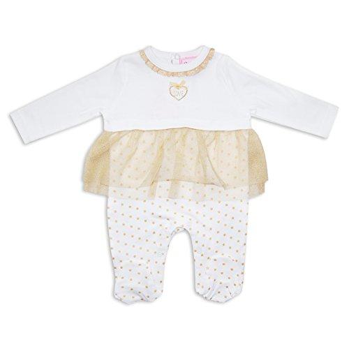 Pigiamino bambina Tutina netto tutù Design Bianco stelle by Chloe Louise bianco White/Gold 0-3 mesi