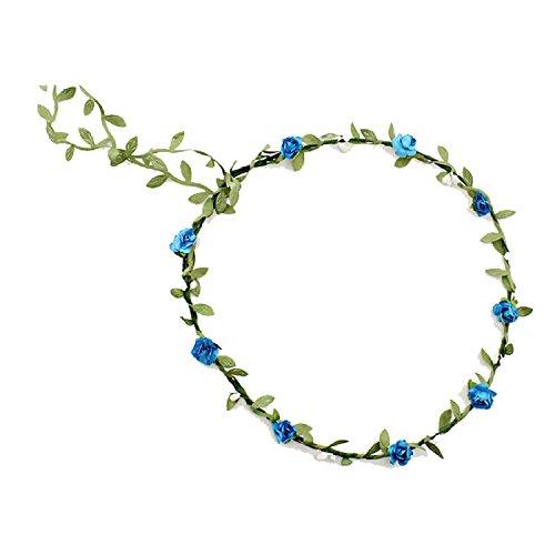 Bandeau-SODIAL(R) 2 pcs Dame Boho Floral Fleur Festival Mariage Guirlande Front Bandeau Bande de cheveux -Bleu