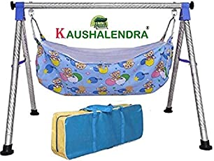 kaushalendra baby cradle swing stainless steel godiyu swings folding with hammock use 1 to 30 months baby colour blue