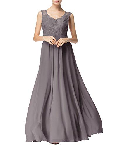 Find Dress Sexy Robe de Soirée Longue Princesse Femme Fille Enfant Robe de Cocktail pour Femme Ronde Col en V sans Manches Robe Demoiselle d'Honneur Fille Grande Taille en Mousseline Gris
