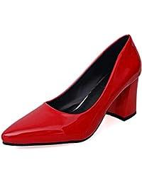 Mujeres Bombas Tacones Bajos Zapatos Damas Partido Boda Vestido Corte Zapatos Puntiagudos Slip en tacón Cuadrado