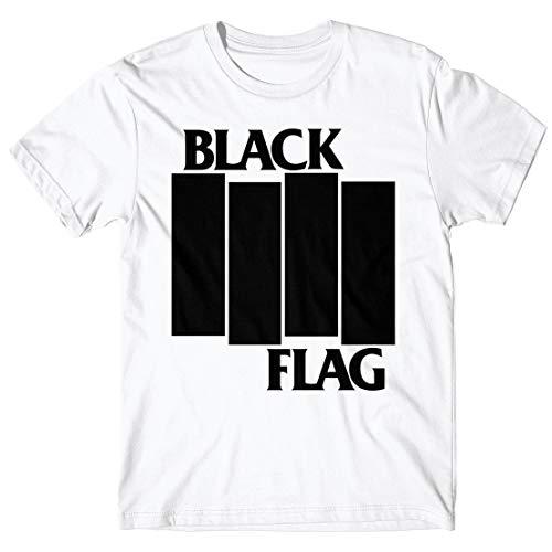 LaMAGLIERIA Herren-T-Shirt Black Flag Stripes Logo Black Print - 100% Baumwolle, M, Weiß (Flag Black Shirt)
