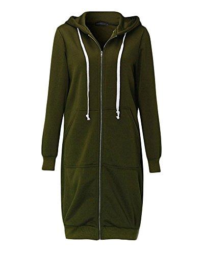 Femme Veste Épaissir Sweat Manche Longue Avec Capuche Manteau Casual Outerwear Vert
