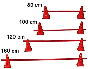 agility sport pour chiens - haie de coordination, 23 cm, jalon: 120 cm, rouge - 2x MZK23r 1x 120r