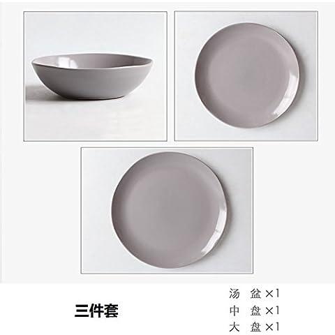 Western ceramica set posate home irregolari piatti creativi verdure disco occidentale insalatiera per il piatto Pack ,28 * 2.5cm,12, PORPORA GRIGIO set di 3 pezzi